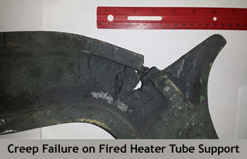 Creep failure on Fired Heater Tube Support